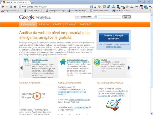 home page pagina inicial google analytics